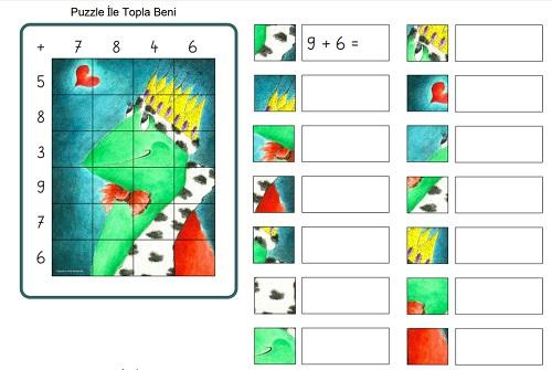 Tek basamaklı puzzle ile topla beni etkinliği