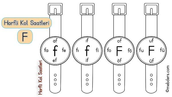 1.Sınıf İlkokuma Harfli Kol Saatleri - F Harfi