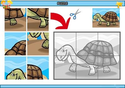 Kes yapıştır ihtiyar kaplumbağa puzzle etkinlik