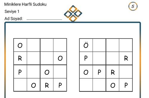 Miniklere Harfli Sudoku 5
