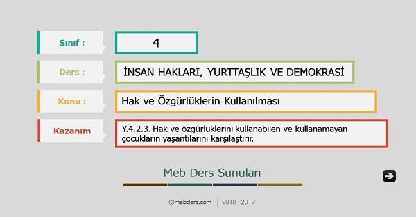 4.Sınıf İnsan Hakları, Yurttaşlık ve Demokrasi - Hak ve Özgürlüklerin Kullanılması Sunusu