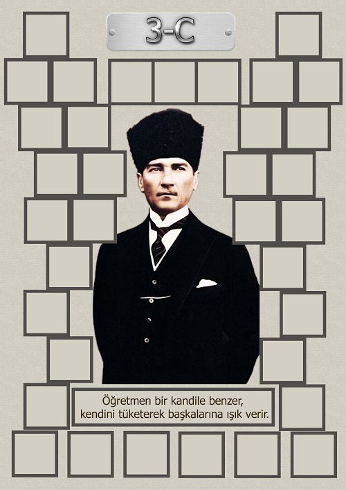 Model 15, 3C şubesi için Atatürk temalı, fotoğraf eklemeli kapı süslemesi - 35 öğrencilik