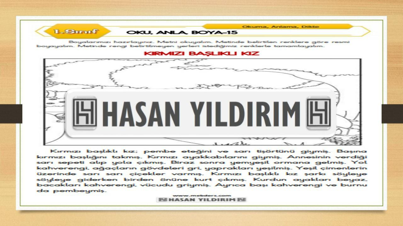 1.Sınıf Türkçe Oku, Anla, Boya-15