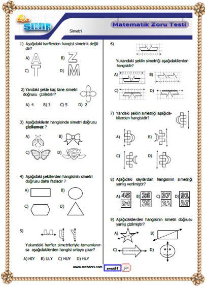 4.Sınıf Matematik Simetri Kazanım Testi