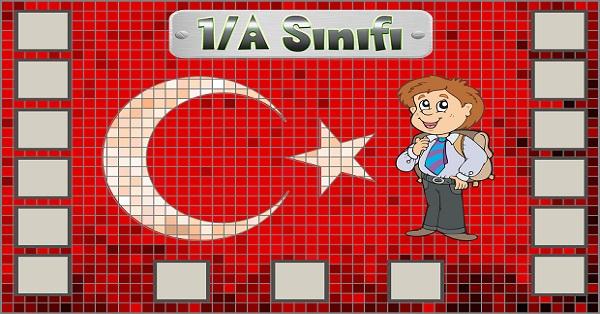 Model 54, 1A şubesi için Türk bayraklı fotoğraf eklemeli kapı süslemesi - 15 öğrencilik