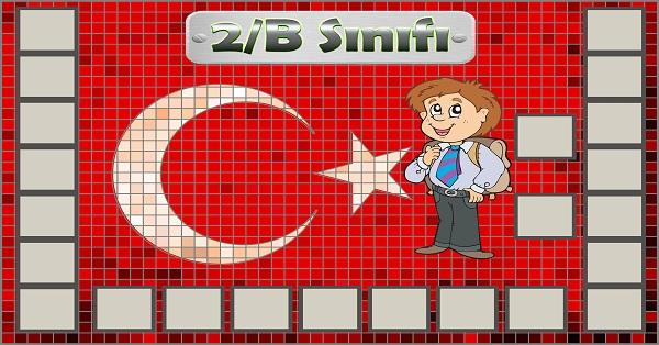 Model 54, 2B şubesi için Türk bayraklı fotoğraf eklemeli kapı süslemesi - 23 öğrencilik