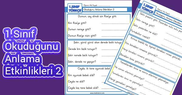 1.Sınıf İlk Okuma Okuduğunu Anlama Etkinlikleri 2