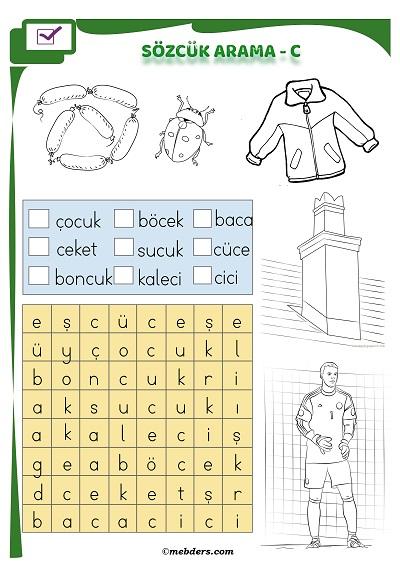 1.Sınıf İlkokuma Boyamalı Sözcük Arama Etkinliği - C Sesi