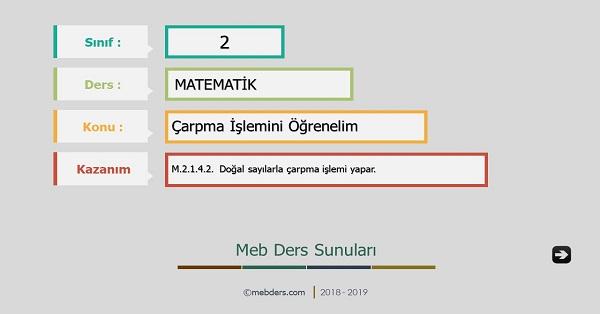 2.Sınıf Matematik Çarpma İşlemi Sunusu