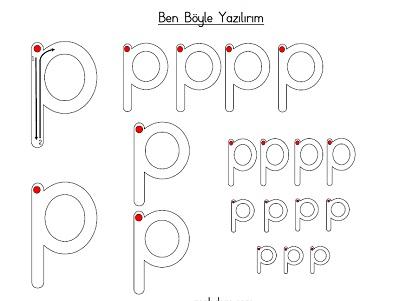 Küçük p harfi ben böyle yazılırım etkinliği