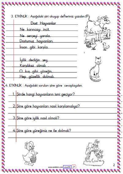 1. Sınıf Türkçe Okuma ve Anlama Etkinliği 2