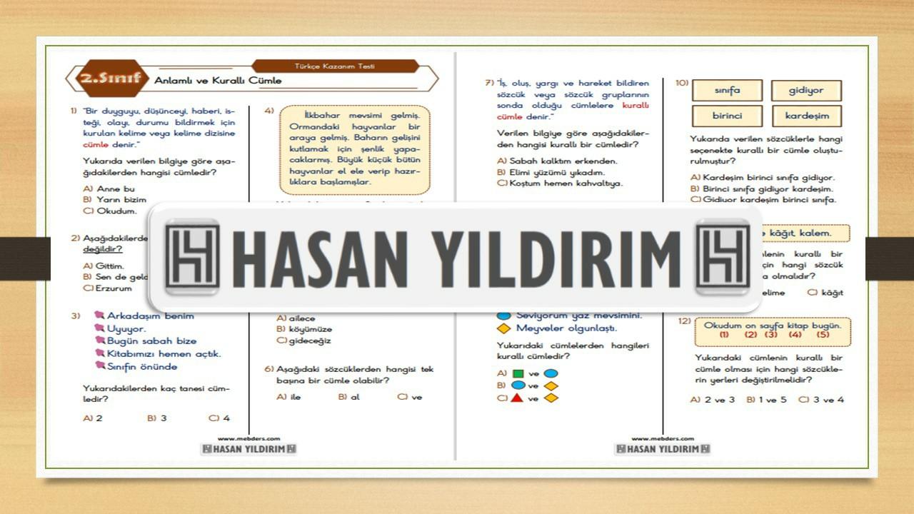 2.Sınıf Türkçe Anlamlı ve Kurallı Cümle Testi