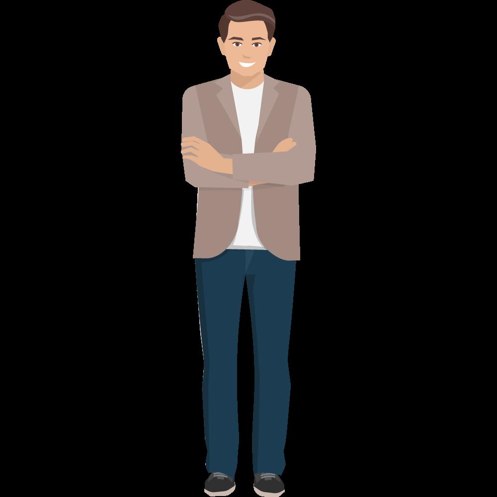 Clipart kollarını bağlamış ayakta duran erkek resmi