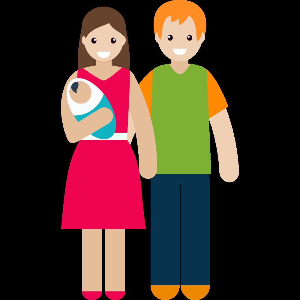 Clipart kucağında bebeğiyle çift resmi