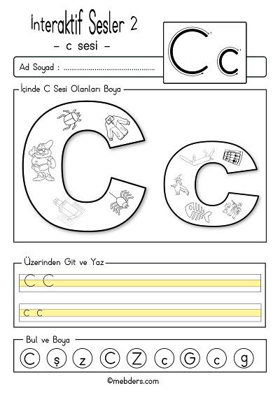 1.Sınıf İlk Okuma İnteraktif c sesi etkinliği 2