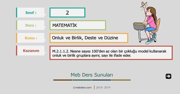 2.Sınıf Matematik Onluk, Birlik, Deste, Düzine Sunusu