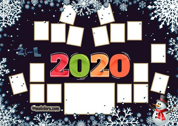 2L Sınıfı için 2020 Yeni Yıl Temalı Fotoğraflı Afiş (17 öğrencilik)