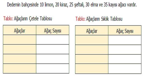 4.Sınıf Matematik Sütun Grafiği (Çetele Tablosu, Sıklık Tablosu, Sütun ve Nesne Grafiği) Etkinliği 1