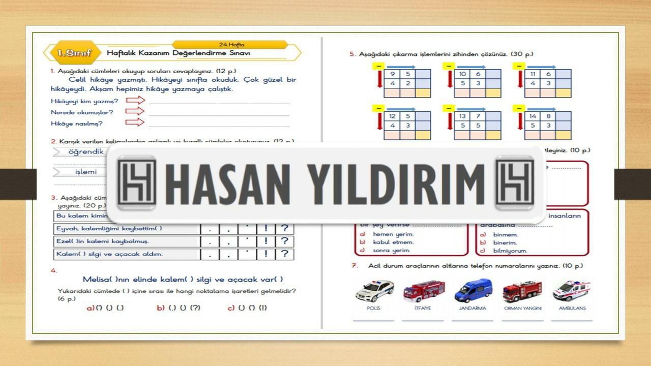 1.Sınıf Haftalık Değerlendirme Sınavı-24.Hafta(29 Mart-2 Nisan)