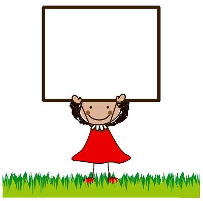 Clipart çerçeveli kırmızı etekli kız çocuğu