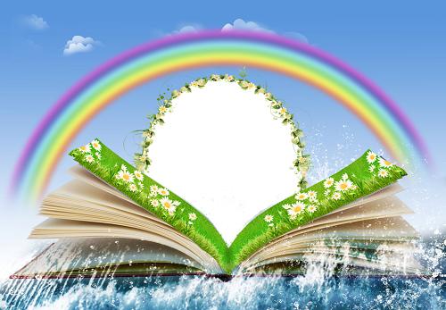 Gökkuşağıyla kitaplı arka plan