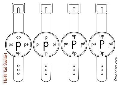 1.Sınıf İlkokuma Harfli Kol Saatleri - P Harfi