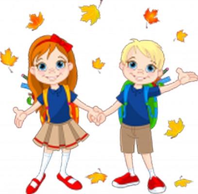Clipart yapraklar arasında el ele tutuşmuş okullu çocuklar resmi png