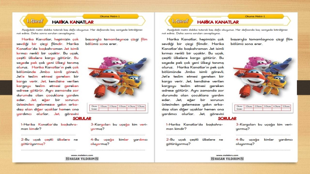 1.Sınıf Okuma Metni-1 (Harika Kanatlar)