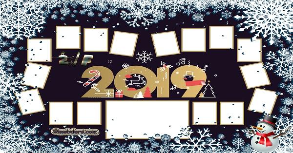 2F Sınıfı için 2019 Yeni Yıl Temalı Fotoğraflı Afiş (16 öğrencilik)