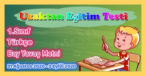 1.Sınıf Türkçe Bay Yavaş Metni Uzaktan Eğitim Testi pdf