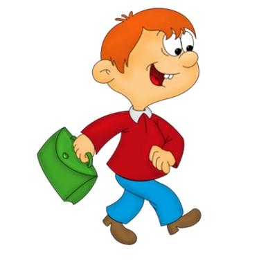 Clipart çantasıyla yürüyen erkek çocuk resmi png