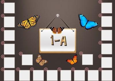 Model 48, 1A şubesi için kelebekli fotoğraf eklemeli kapı süslemesi - 20 öğrencilik
