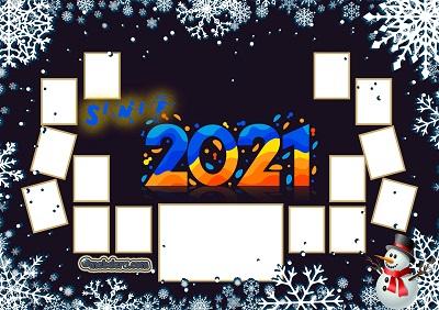 3D Sınıfı için 2021 Yeni Yıl Temalı Fotoğraflı Afiş (19 öğrencilik)