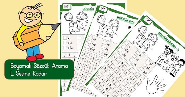 1.Sınıf İlkokuma Boyamalı Sözcük Arama Etkinliği - L Sesi