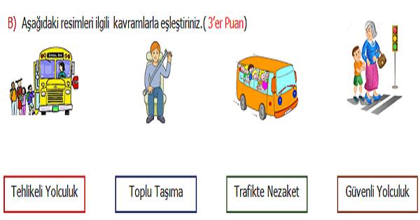 4.Sınıf Trafik Güvenliği 2.Dönem 1.Yazılı Sınavı