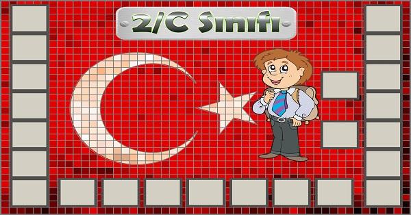 Model 54, 2C şubesi için Türk bayraklı fotoğraf eklemeli kapı süslemesi - 23 öğrencilik