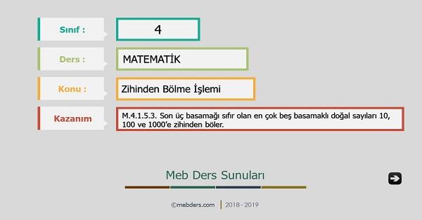 4.Sınıf Matematik Zihinden Bölme İşlemi Sunusu