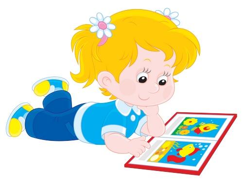 Clipart yere uzanmış resimli kitap okuyan kız çocuğu resmi png
