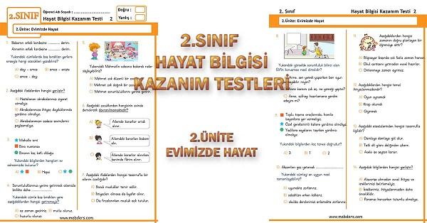 2.Sınıf Hayat Bilgisi Kazanım Testi - 2.Ünite - Evimizde Hayat