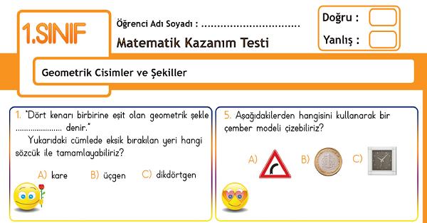 1.Sınıf Matematik Geometrik Cisimler ve Şekiller Kazanım Testi