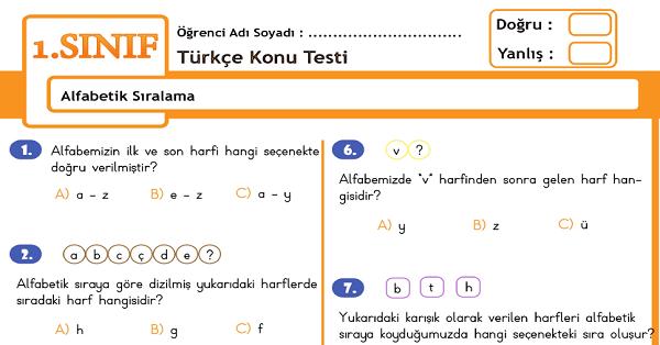 1.Sınıf Türkçe Alfabetik Sıralama Konu Tarama Testi