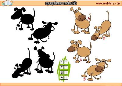 Keyifli köpek gölgesi eşleştirme etkinliği