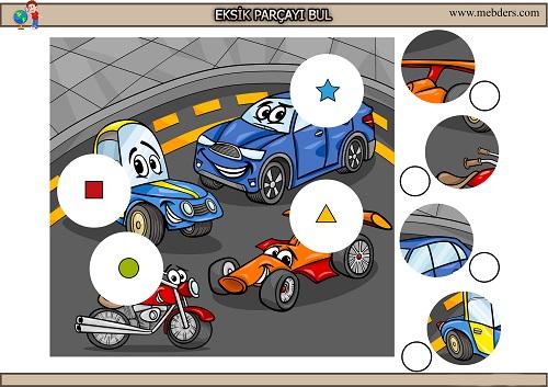 Sevimli yarış arabalarındaki eksik parçayı bulma etkinliği
