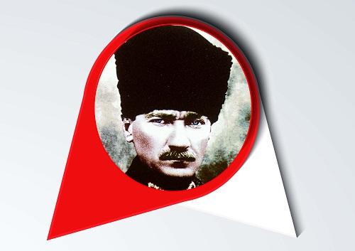 Pano için 11 adet kırmızı beyaz fonda Atatürk Fotoğrafları