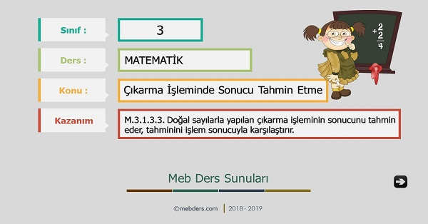 3.Sınıf Matematik Çıkarma İşleminde Sonucu Tahmin Etme Sunusu