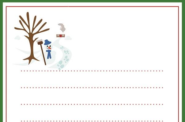 Kardan adam ve kış evi temalı yazı şablonu
