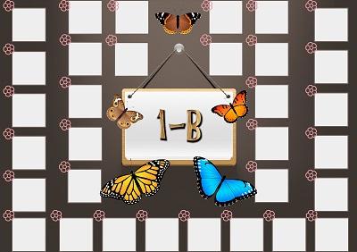 Model 48, 1B şubesi için kelebekli, fotoğraf eklemeli kapı süslemesi - 32 öğrencilik