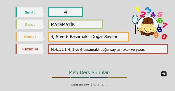 4.Sınıf Matematik 4,5 ve 6 Basamaklı Doğal Sayılar Sunusu