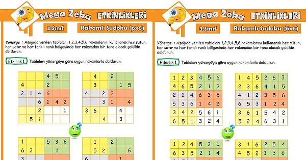 3.Sınıf Mega Zeka Etkinliği - Rakamlı Sudoku