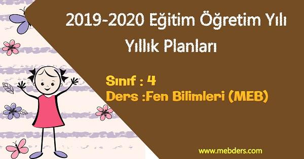 2019 - 2020 Yılı 4.Sınıf Fen Bilimleri Yıllık Planı (MEB)